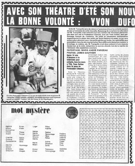 Les Vedettes Québécoises, 26 août 1978