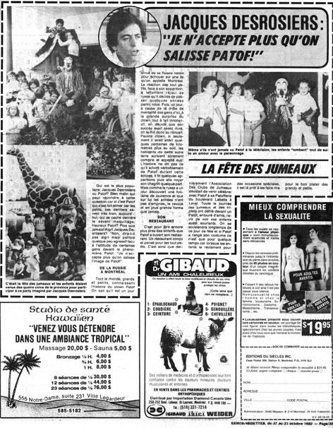 Écho-Vedettes, 17 octobre 1982